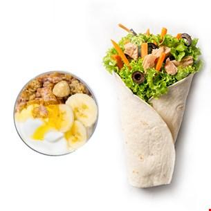 Tuna King Wrap & Iaurt grecesc cu musli crunch, banane și miere