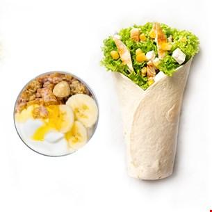 Chicken King Wrap & Iaurt grecesc cu musli crunch, banane și miere